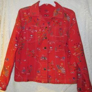 Vintage oriental red jean jacket size Medium